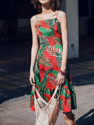 Tropical Plunge Maxi Dress