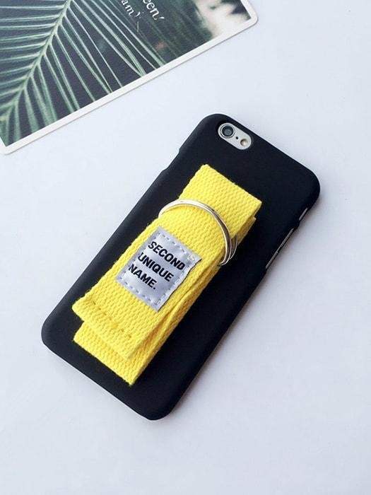 Chic Black Phone Case with Canvas Armlet