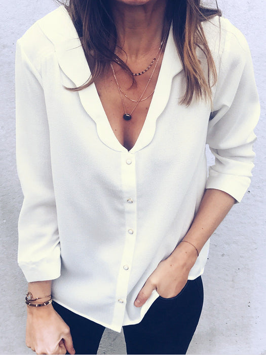 Casual Button Front Split Neck White Blouse