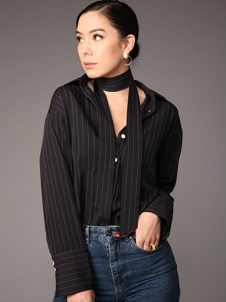 Striped Trumpet Sleeve Top With Chocker Detail