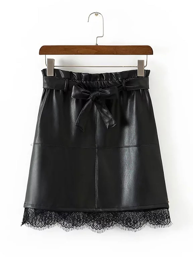 Chic PU Panel Skirt