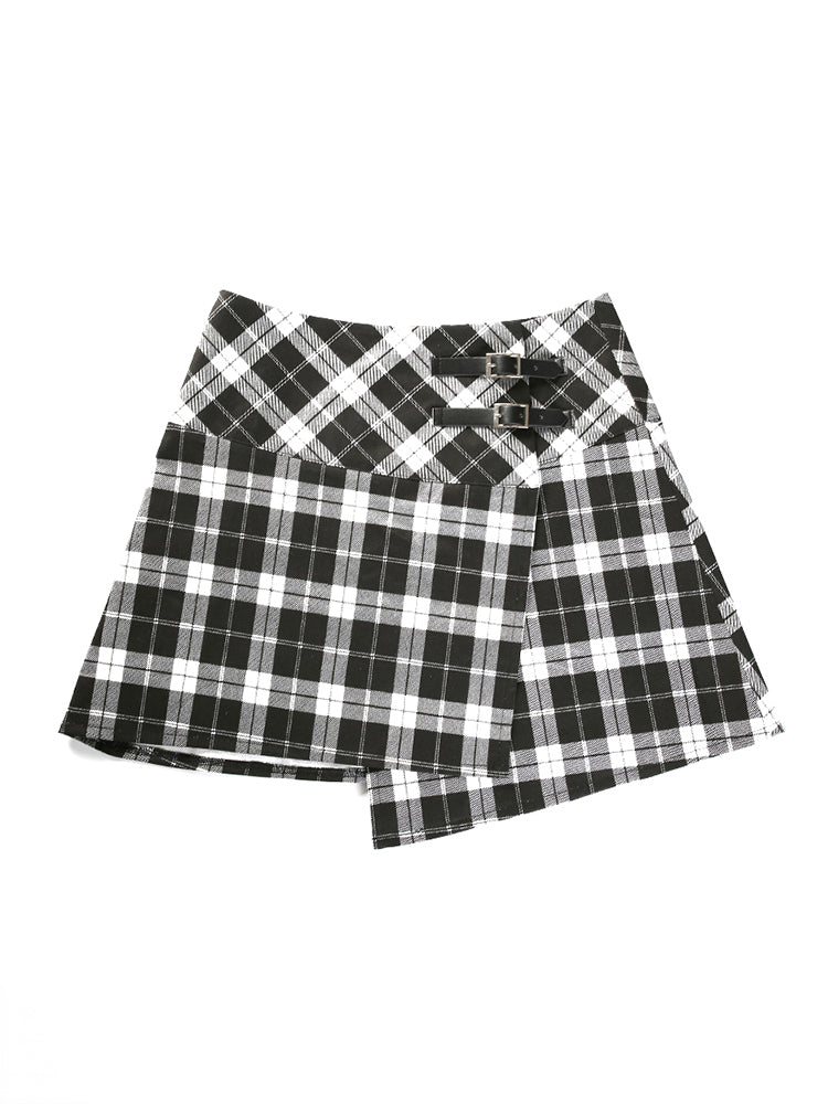 Checked Mini Wrap Skirt