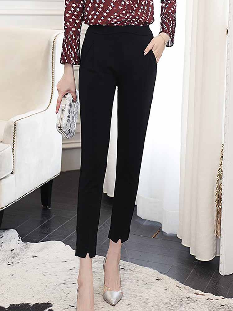 Simple Solid Skinny Pants