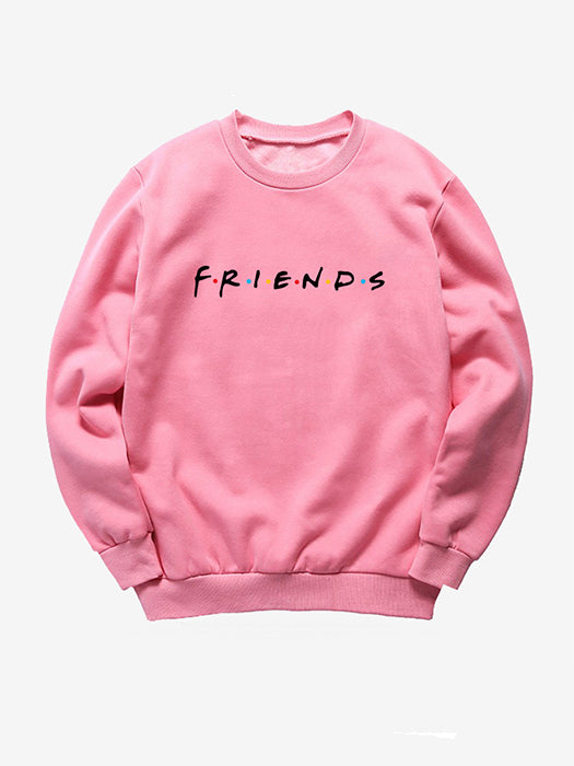 Friends Letter O-Neck Long Sleeve Sweatshirt