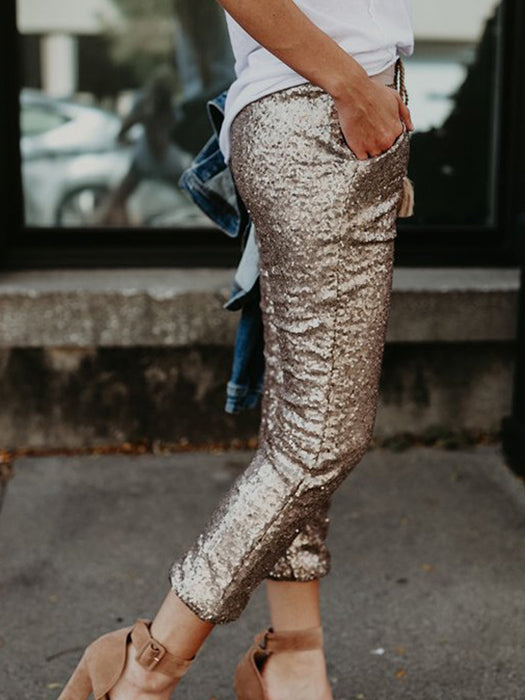 High Waist Sequin Glitter Skinny Pants