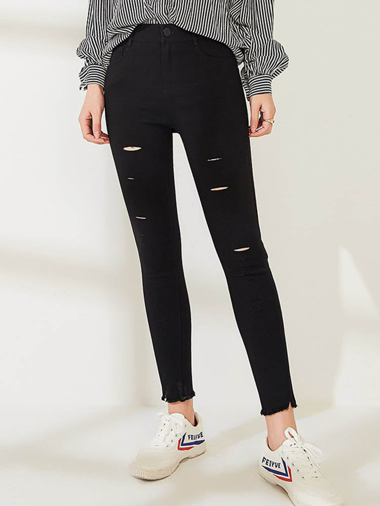 Street Style Distressing Skinny Jeans