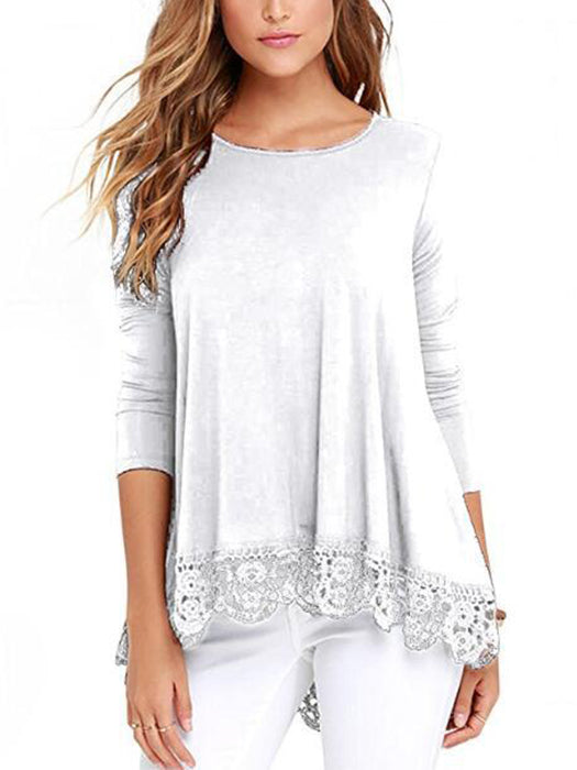 Women Long Sleeve Lace Patchwork O-Neck Loose Casual Blouse