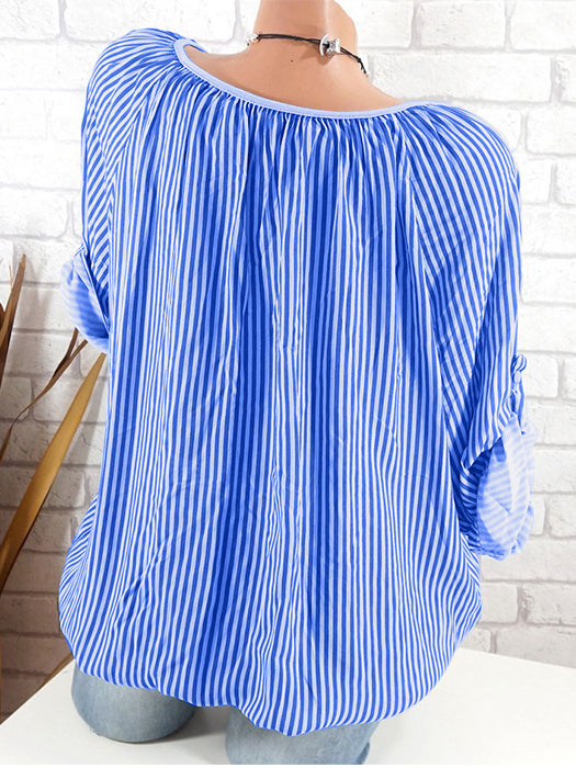 Long Sleeve Striped Round Neck Blouse