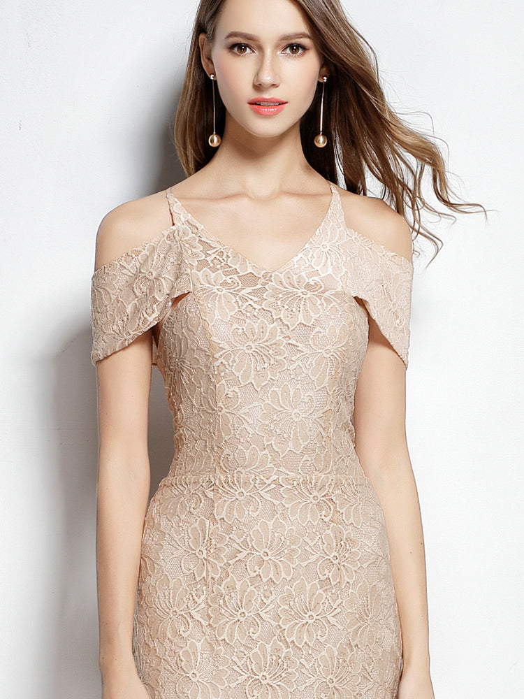 Strapless  Short sleeve  Lace   Formal Evening Dress
