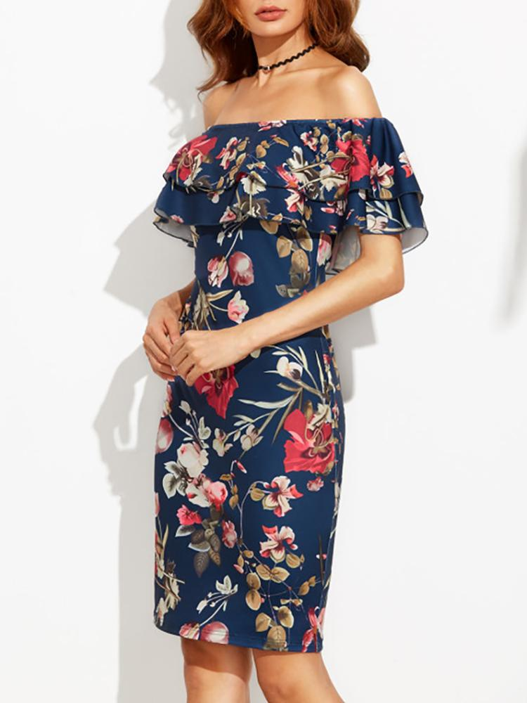 Folk Floral Print Ruffled Trimmed Dress