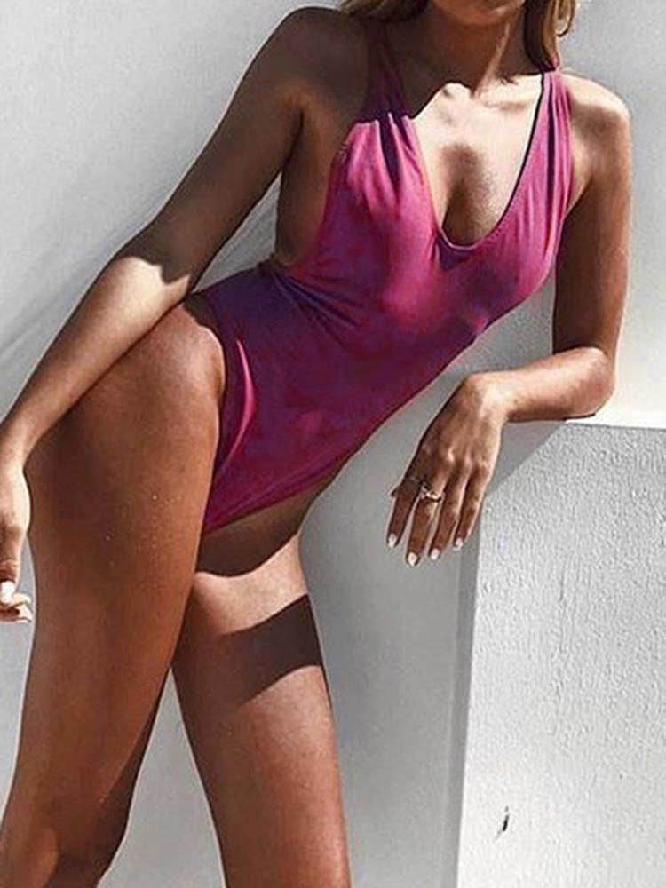Sexy Basic Solid Swimsuit