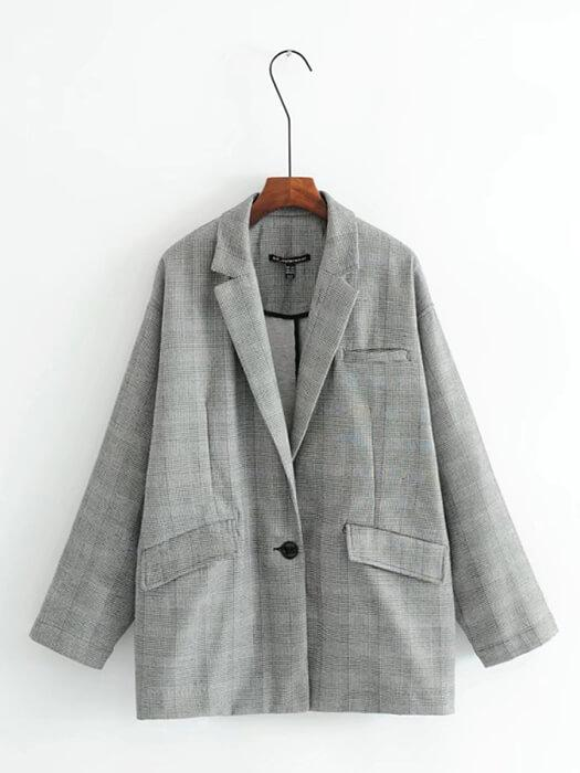One Button Notched Lapel Plaid Coat