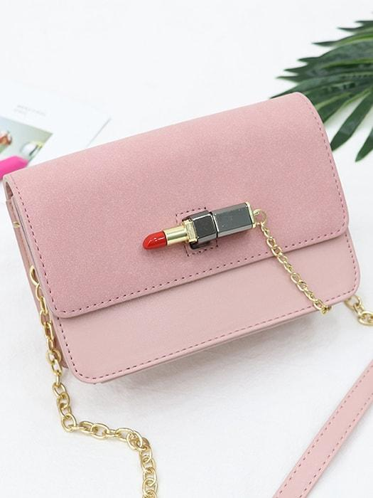 Suede Chain Bag With Lipstick Decoration