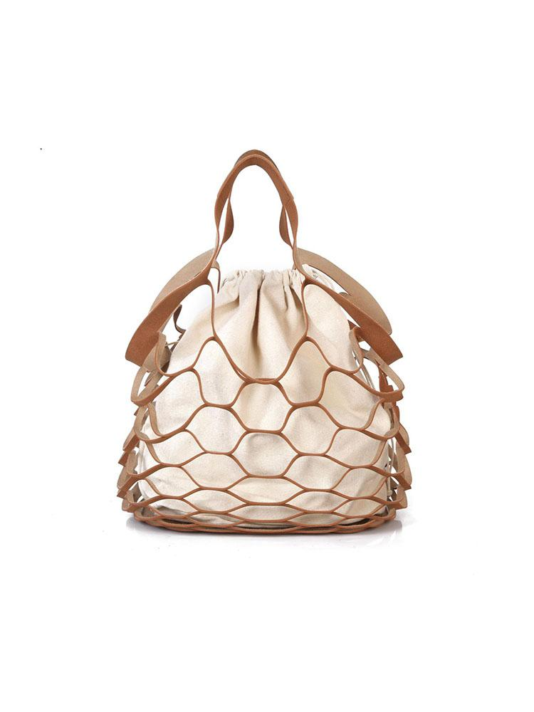 Faux Leather Fishnet Tote Bag Whatsmode