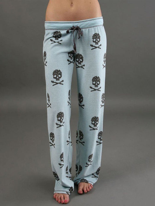 Baggy Punk Skull Print Wide Pants Yoga Sweatpant