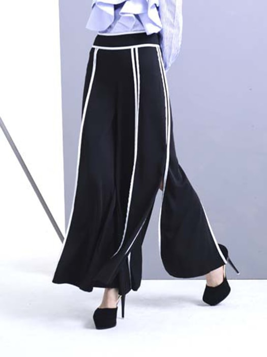 Ultra Wide Leg White Stripe Pants With Split
