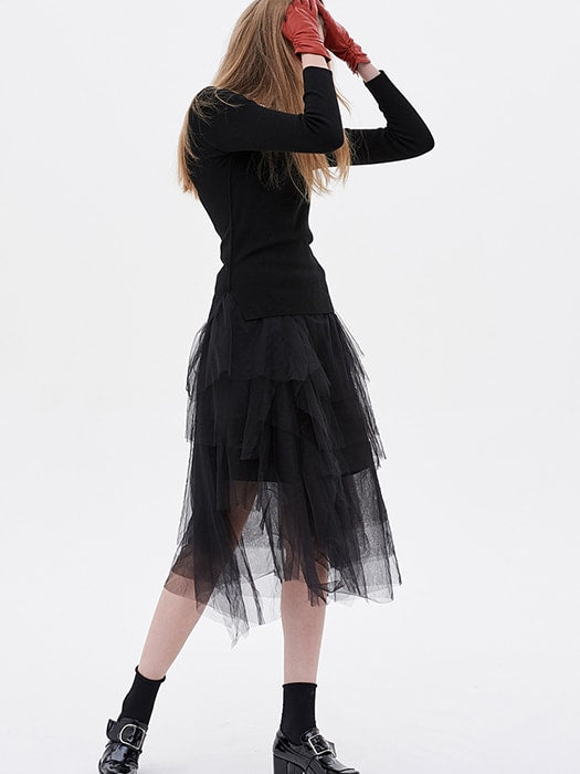 A-line Lace Asynmetric Pleated Midi Skirt