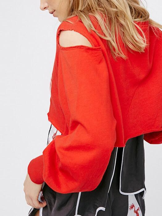 Cut Out Bubble Sleeve Script Crop Hoodie