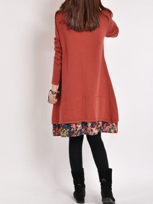 Long Sleeve  A-line Dress Above Knee