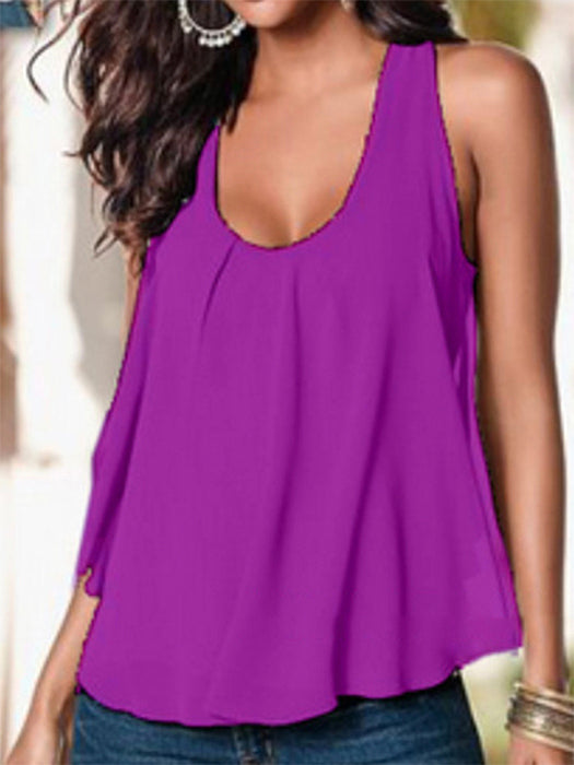 Summer Paneled Sleeveless Chiffon Casual Tank Tops