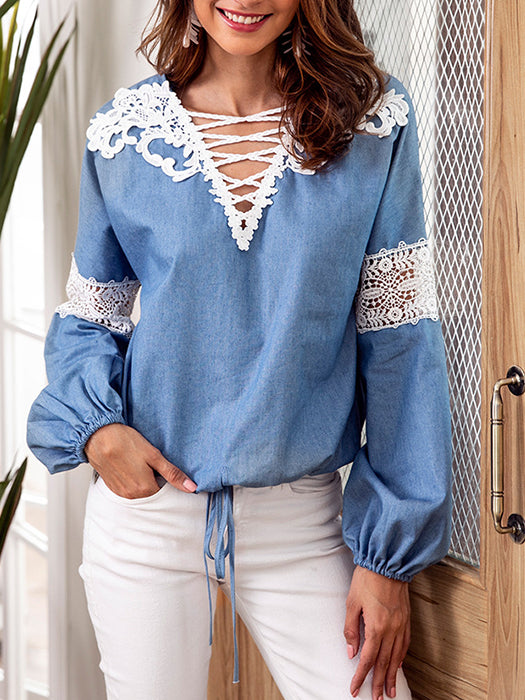 Casual Lantern Sleeve Front Drawstring Hollow Design Tops