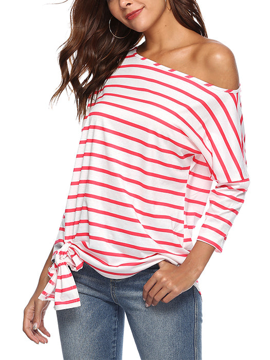 8d57e59f2bf4a Basic Striped Pattern One Shoulder Knot Design Casual T-shirt Tops ...