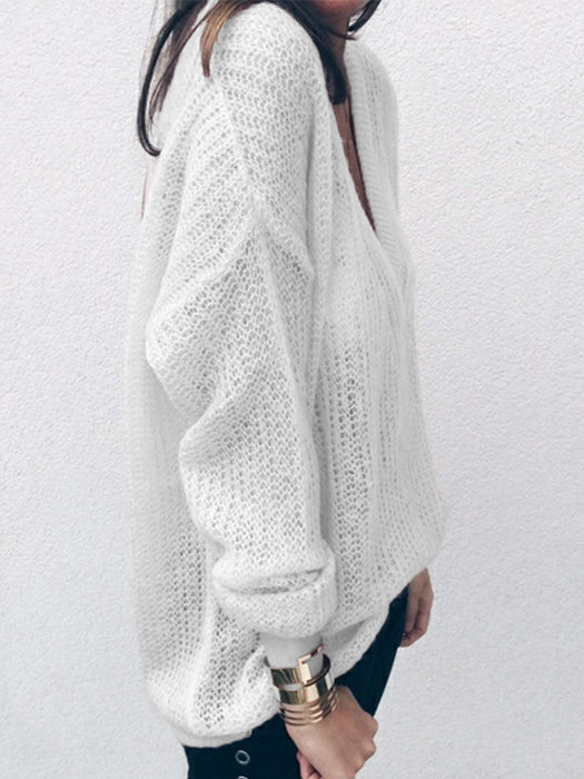 Solid Color Long Sleeve V-Neck Loose Sweater Tops