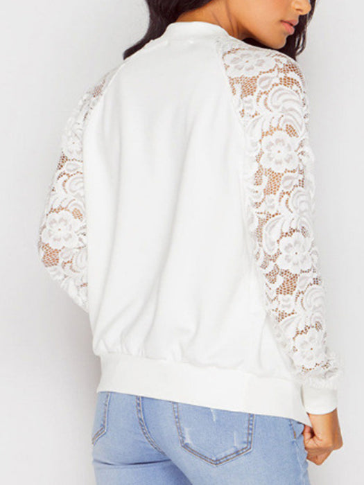 Pure Color Blossom Lace Sleeve Jacket
