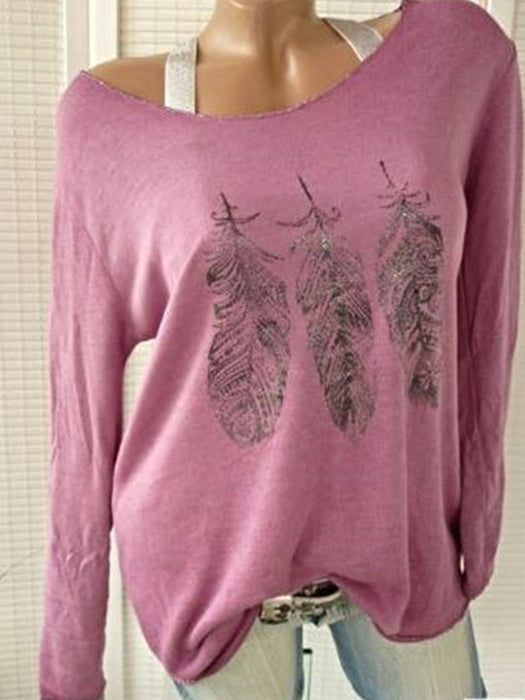 Women Fashion Long Sleeve Sexy Slash Neck Feather Printed Tops