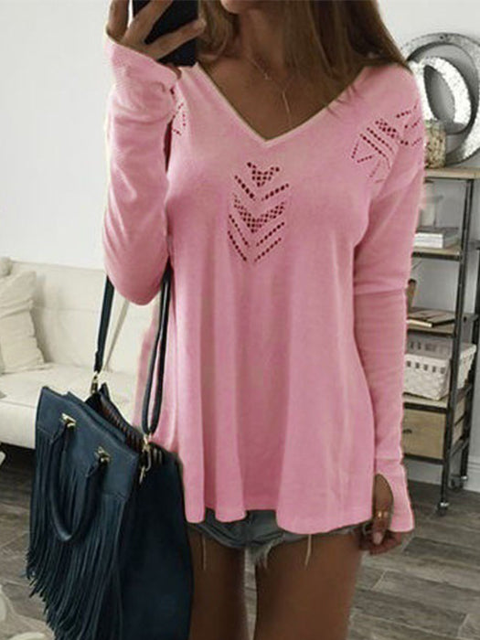 Knitted Casual Loose Hollow Design Long Sleeved Shirts