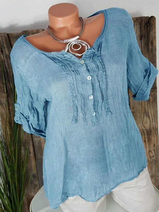 Convertible Sleeves Buttoned Blouses