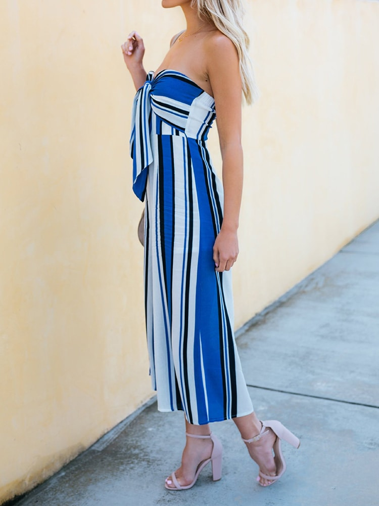 Strapless Striped Wide Leg Jumpsuit