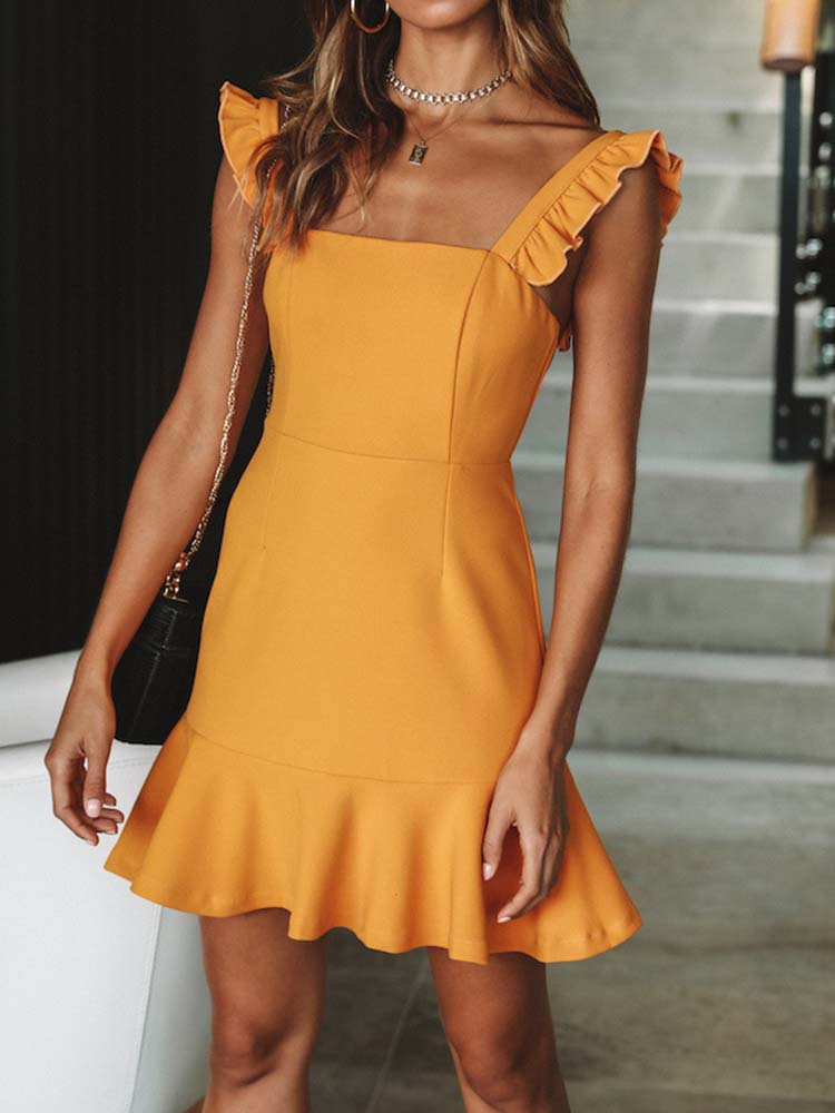 Sexy Ruffle Sleeves Slip Dress