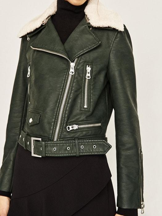 Fur Collar PU Leather Biker Jacket