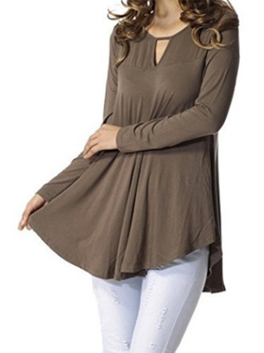 Fashion Solid Color Long-sleeved Shirt Loose Leisure T-shirt