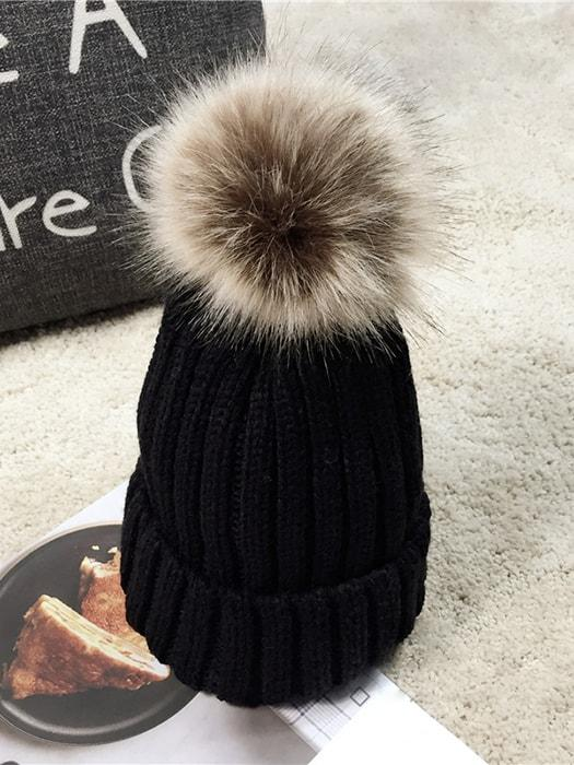 Faux Fur Knitted Pom Pom Beanie Hat – WhatsMode 0ae6f236ebd
