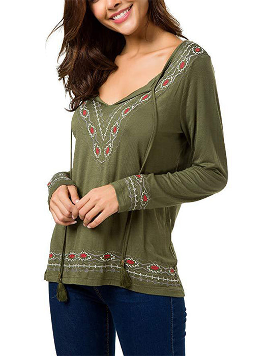 Women Boho Tie Neck Embroidered Detail Top