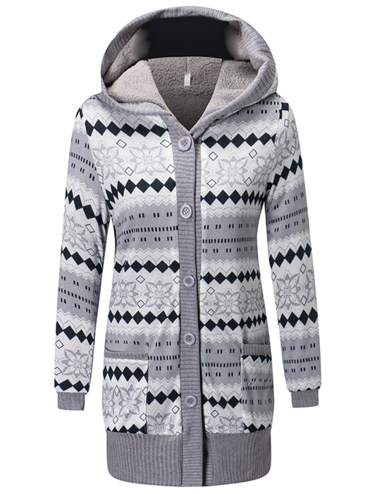 Long Sleeve Cotton Knitted Cardigan Coat