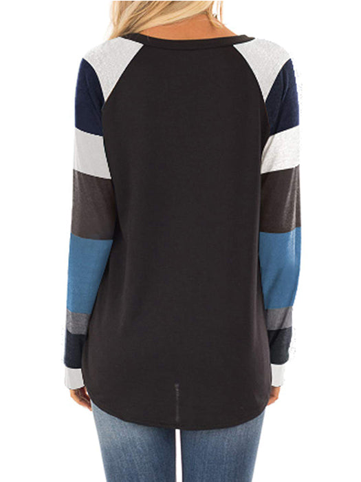 Striped Printed  Pattern Color Block Round Neck Long Sleeve Casual  Pullover