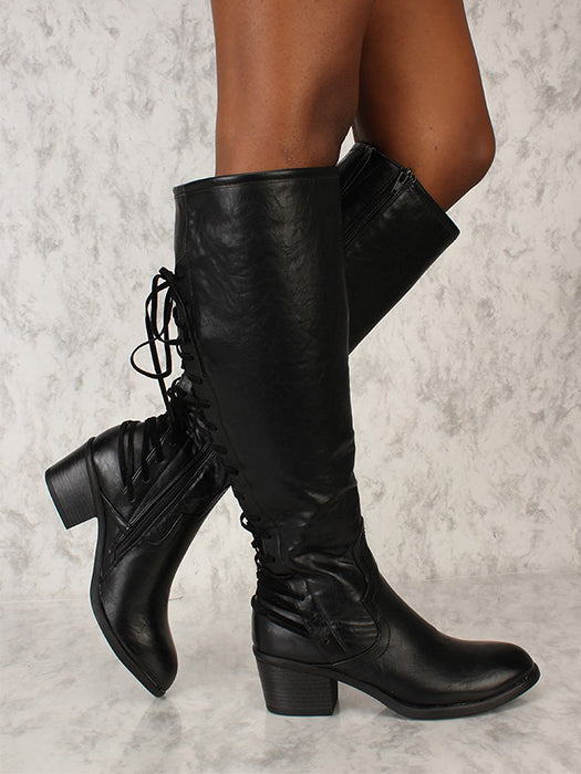 Fashion Knee High Back Strap Knight Style Tall Boots