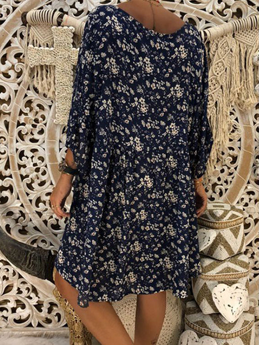 V neck Swing Women Daily Long Sleeve Printed Floral  Dress