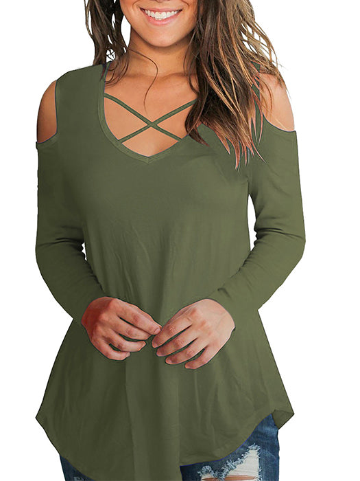 Off Shoulder Front Crossed Design Irregular Hem Tops