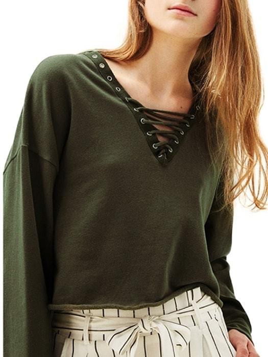 Bind Belt Cross Green Crop Top