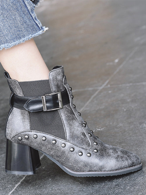 473272be57c30 Rivet Buckle Ankle Boots Chunky Heel Shoes