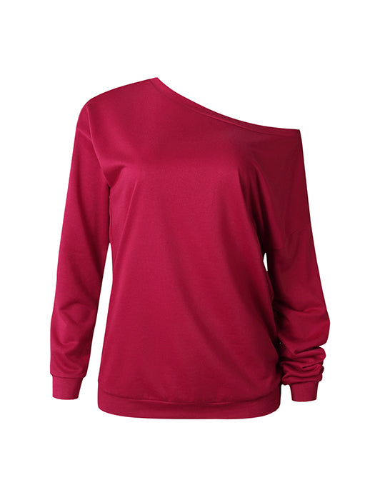 New Fashion Style One Shouder Casual Soft Long Sleeve T-Shirt Women Cotton Tops Blouse