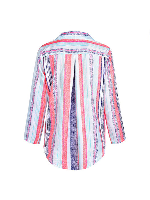 Casual Chic Colorful Striped Blouse