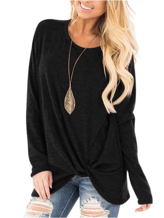 Crossed Front Design Round Neck Long Sleeves Loose Fit T-Shirts