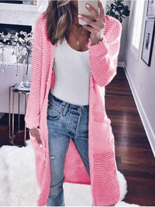 Long Sleeve Pure Color Casual Knitted Coat