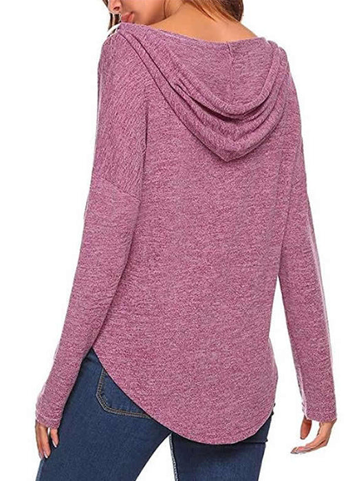Casual V-neck Drawing String Design Heart Paw Printed Hoodies