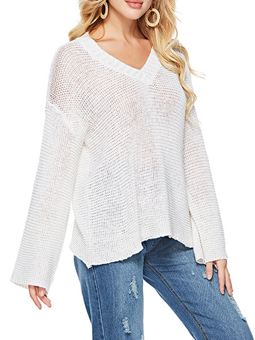 Pure Color V-neck Knitted Loose Sweater